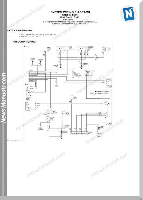 Suzuki Swift 1994 Wiring Diagrams Suzuki Swift Diagram Suzuki