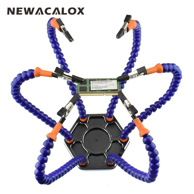 Newacalox Multi Soldering Helping Hands Third Hand Tool With 6pcs Flexible Arms For Pcb Board Soldering Assembly Repai Soldering Helping Hands Soldering Tools