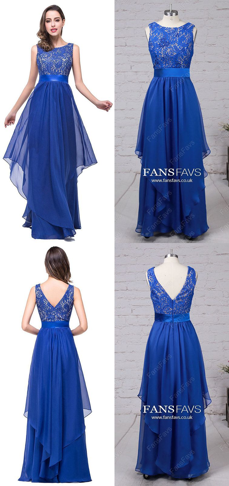 Royal blue prom dresses longaline prom dresses lacemodest prom