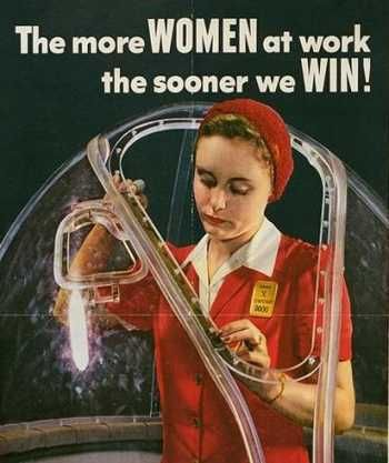 The more women at work, the sooner we win! #vintage #1940s #WW2