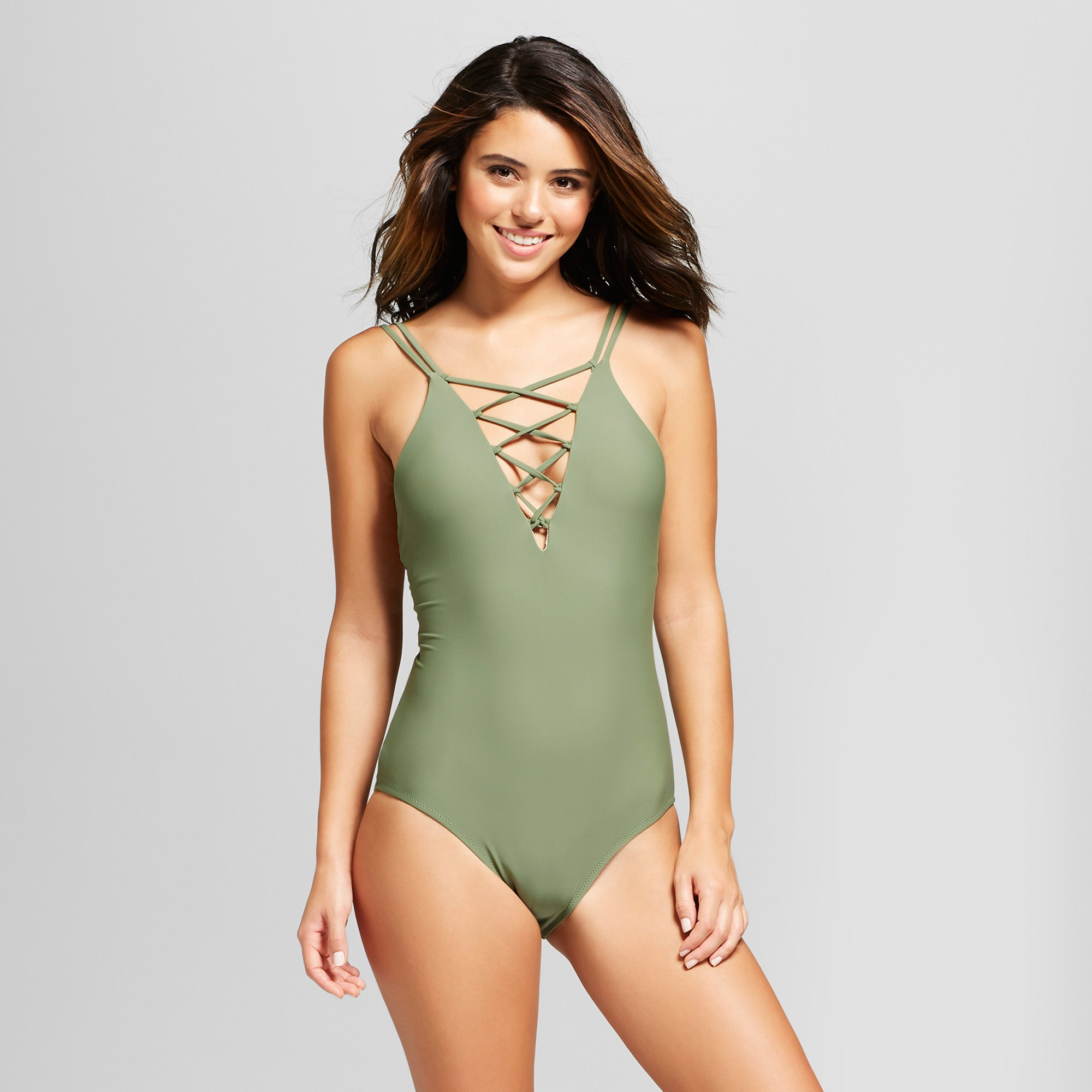 7d7966b1f4 Vanilla Beach Women's Strappy Cheeky Lace Up One Piece Swimsuit - Olive  Heather S