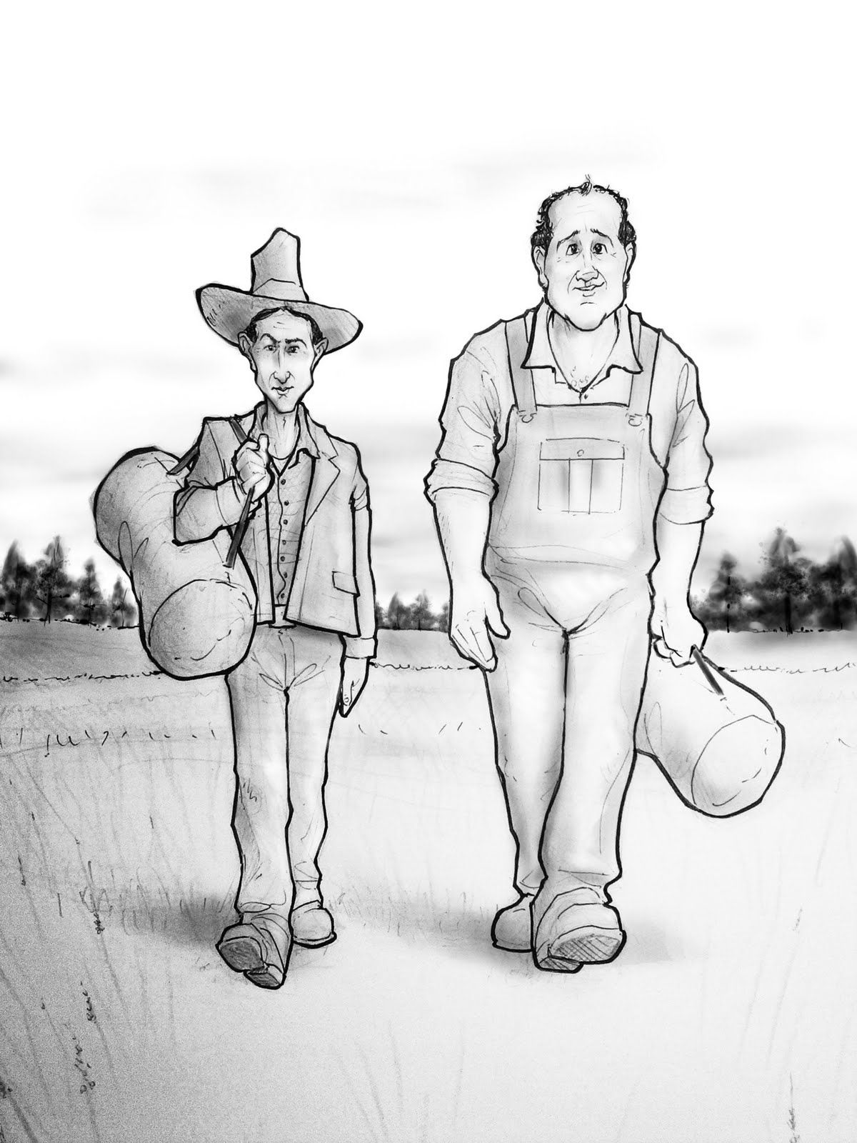 Lennie And George Of Mice And Men Drawing