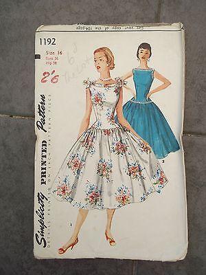 Vintage 1950\'s Simplicity sewing pattern Dress size 16 | 50er Jahre ...