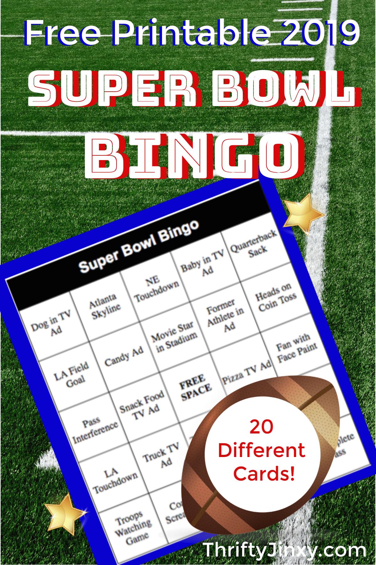 2019 printable super bowl bingo cards super bowl party ideas rh pinterest com