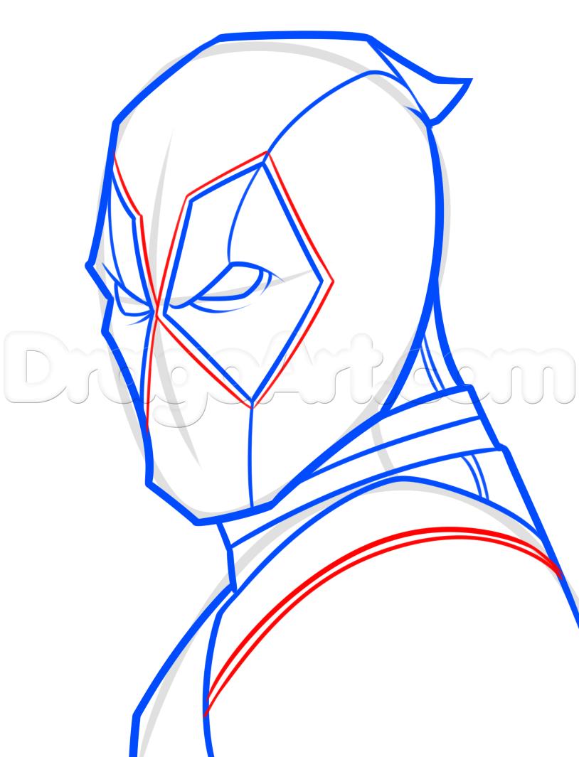 Drawing deadpool easy step 5