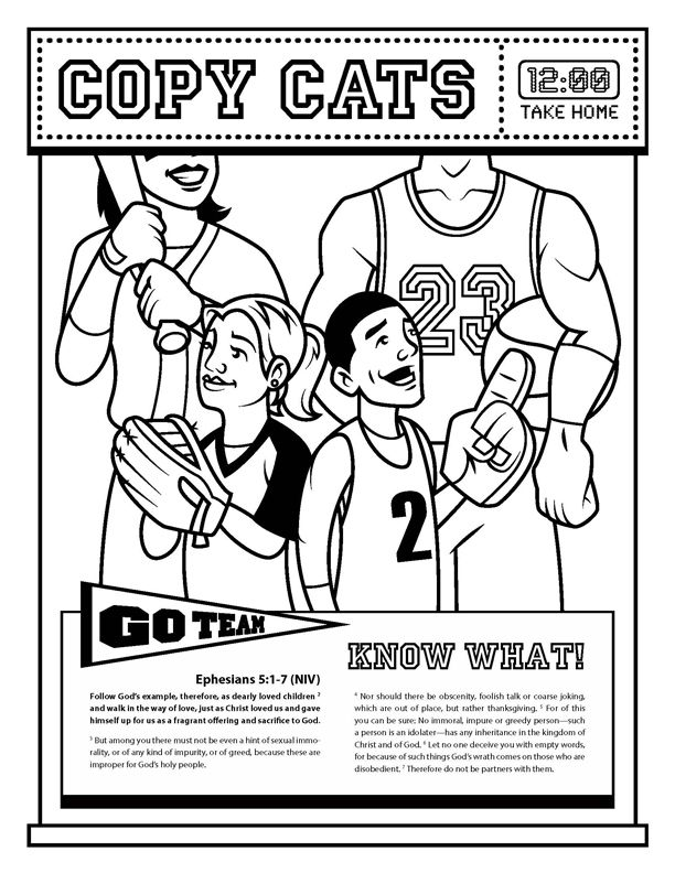 Copy Cats Childrenu0027s Activity Sheet, Ephesians 51-7 about following - copy children's abc coloring pages
