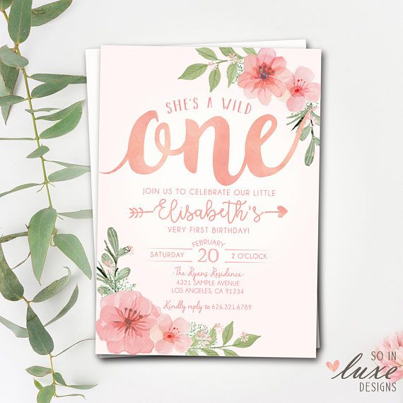 floral first birthday party invitation