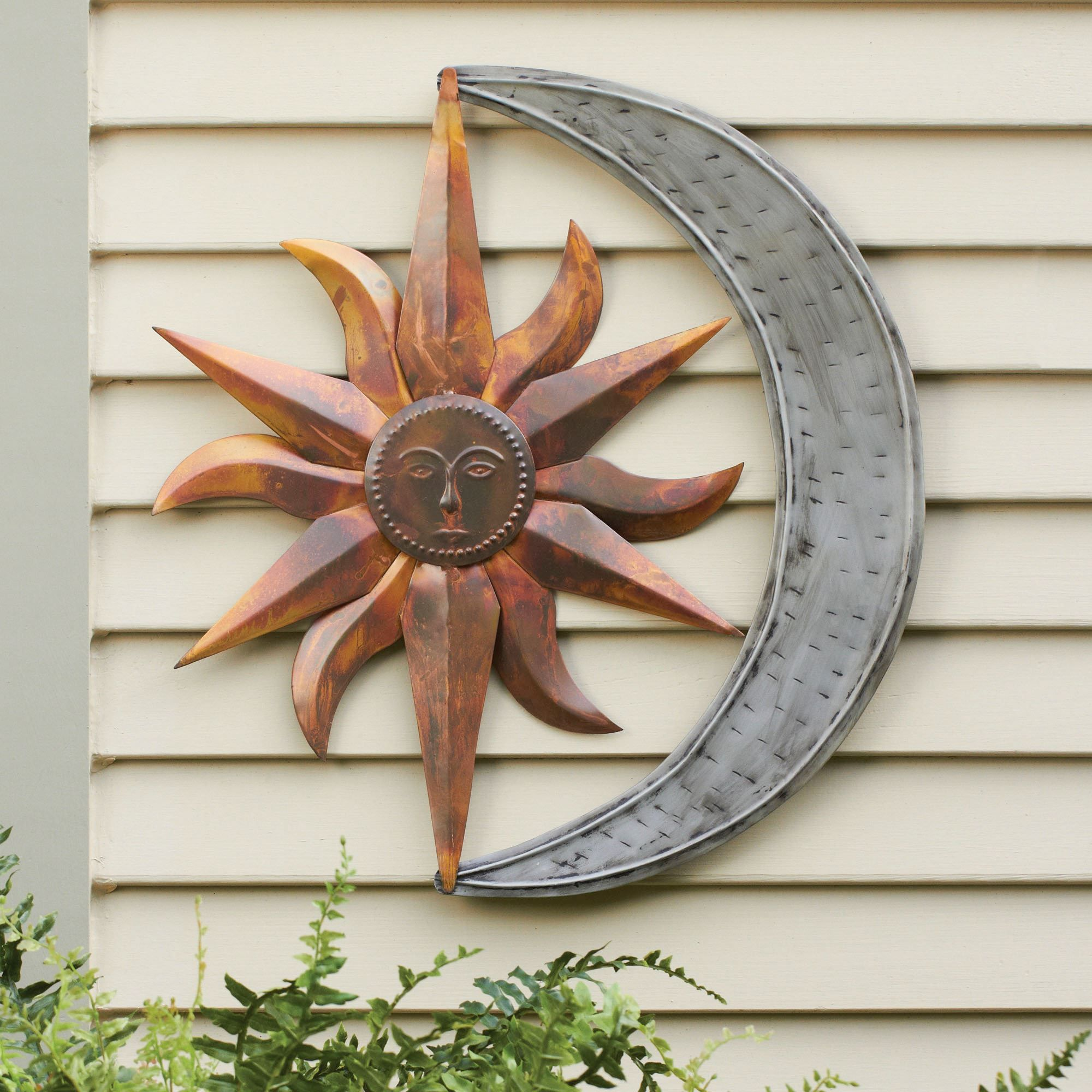 Garden Ornaments Metal Sun And Moon Wall Art Multi Metallic