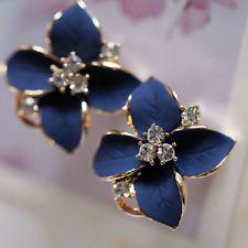 Lady Girls Blue Flower Charm Crystal Ear Stud Earrings korean style