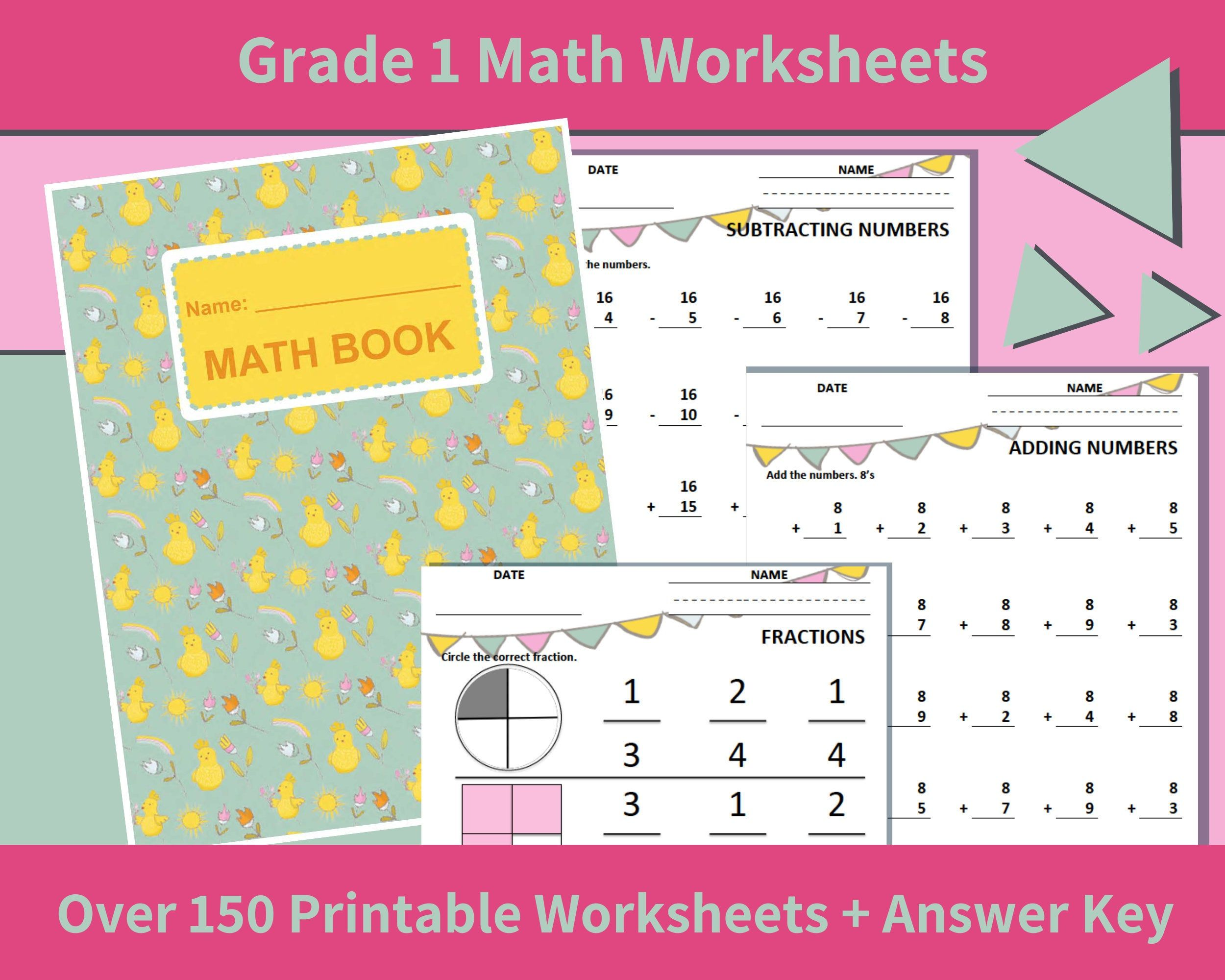 Math Printables First Grade Grade 1 Math Worksheets First Etsy Math Workbook Math Worksheets Math Printables [ 2000 x 2500 Pixel ]
