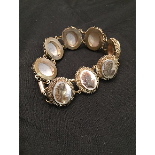 Cameo Bracelet Chain Link Right Facing Portraits Victorian Style 120 Liked On Polyvore Featuring Jewelry Bracelets Vintage