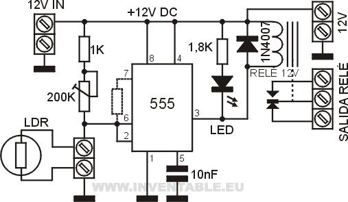 circuito de la fotoc u00e9lula con el circuito integrado 555