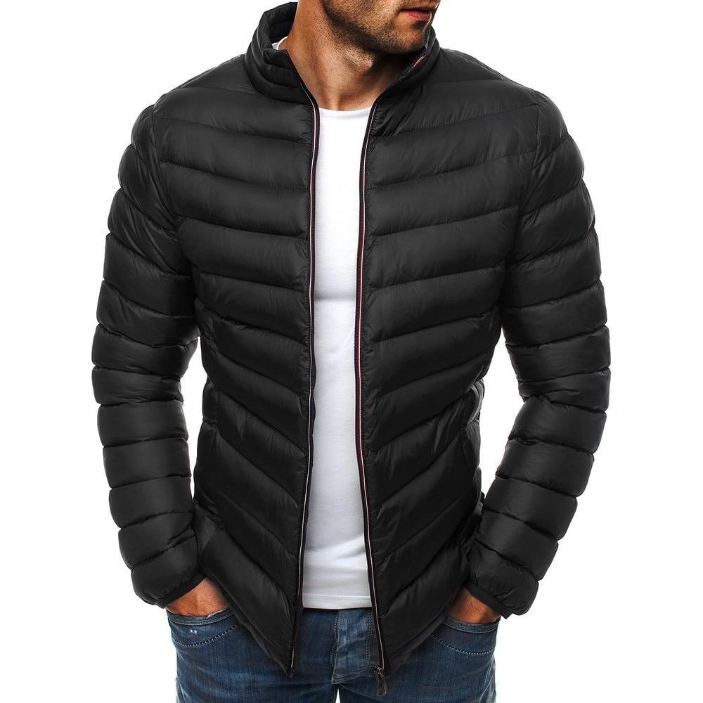 Zogaa Mens Parkas Colorful Men Winter Jacket Casual Puffer Coat Solid Zipper Overcoat Streetwear Men Simple Coat Clothes 2018 Mens Down Jacket Mens Outfits Winter Jackets