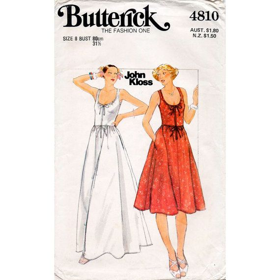 HALF PRICE 1970s Scoop Neck Sun Dress Pattern Butterick 4810 Designer John Kloss Vintage Petites Sewing Pattern Bust 31.5 FF Unused