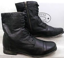 16ae39dad4c Steve Madden Mens Troopah 2 Black Leather Lace Up Ankle Boots Shoes ...