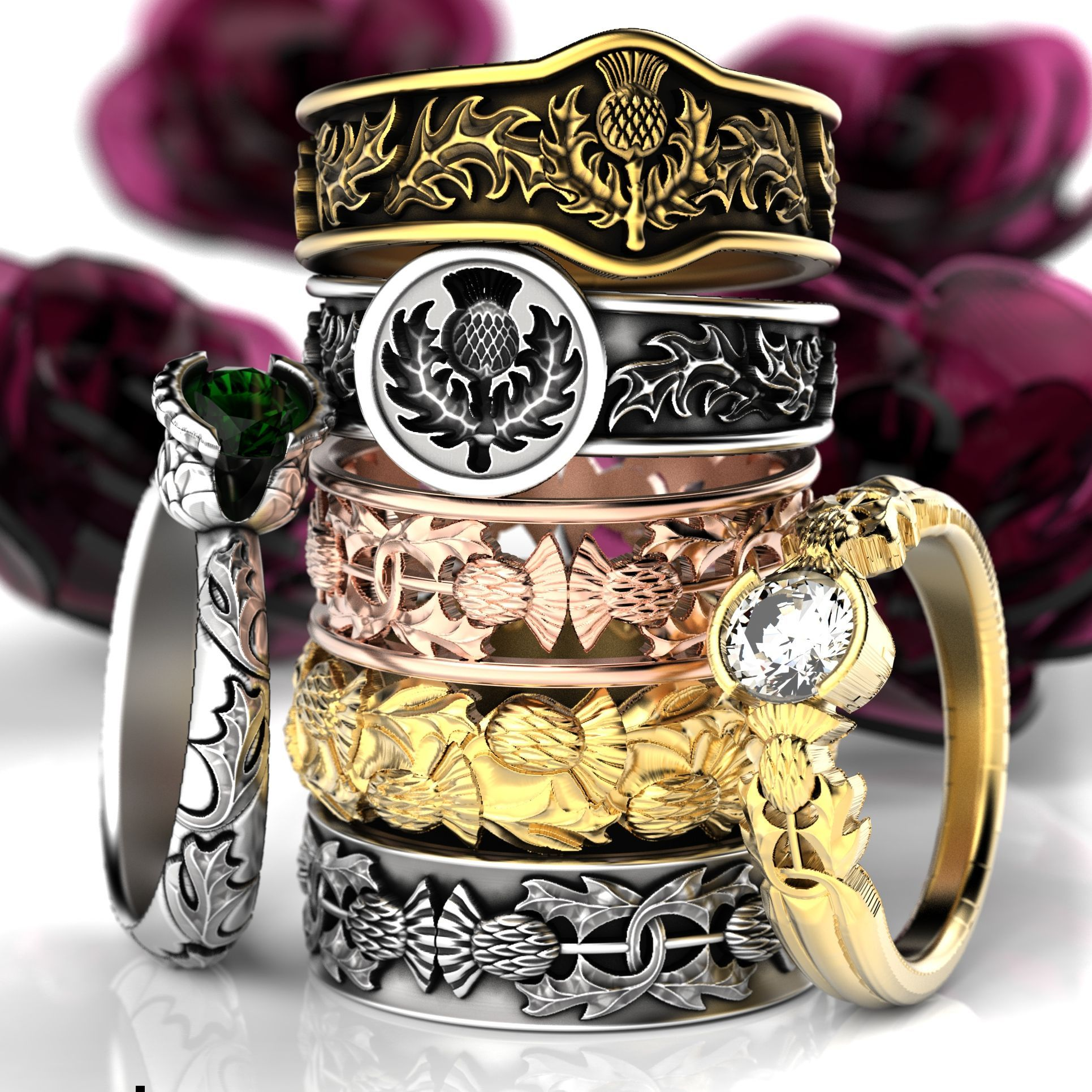 Scottish thistle wedding bands, engagement rings and