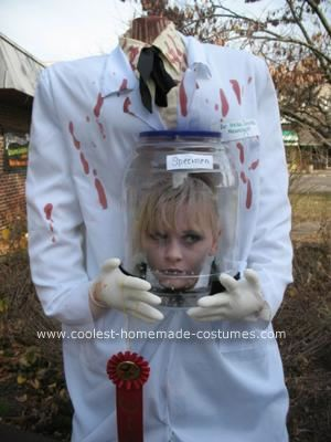 homemade decapitated mad scientist halloween costume idea my 10 year old daughter loves halloween more than any other holiday on the calendar