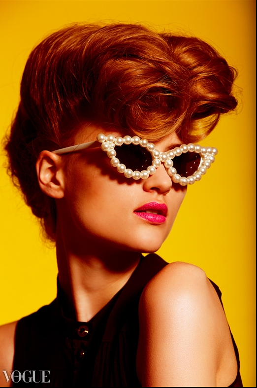 Vogue Italia Features Eye Catching Sunsational Mercura NYC Pot Pearl Sunglasses  Vogue Italia September 2012  Photo by Tomaas  Styled by Carol Sneed  Make-up Artist: Fiona Thatcher, Make Up For Ever Hair: Seiji Uehara Represented by Ennis, Inc Model: Hannah Kern @Jennifer Trump Models