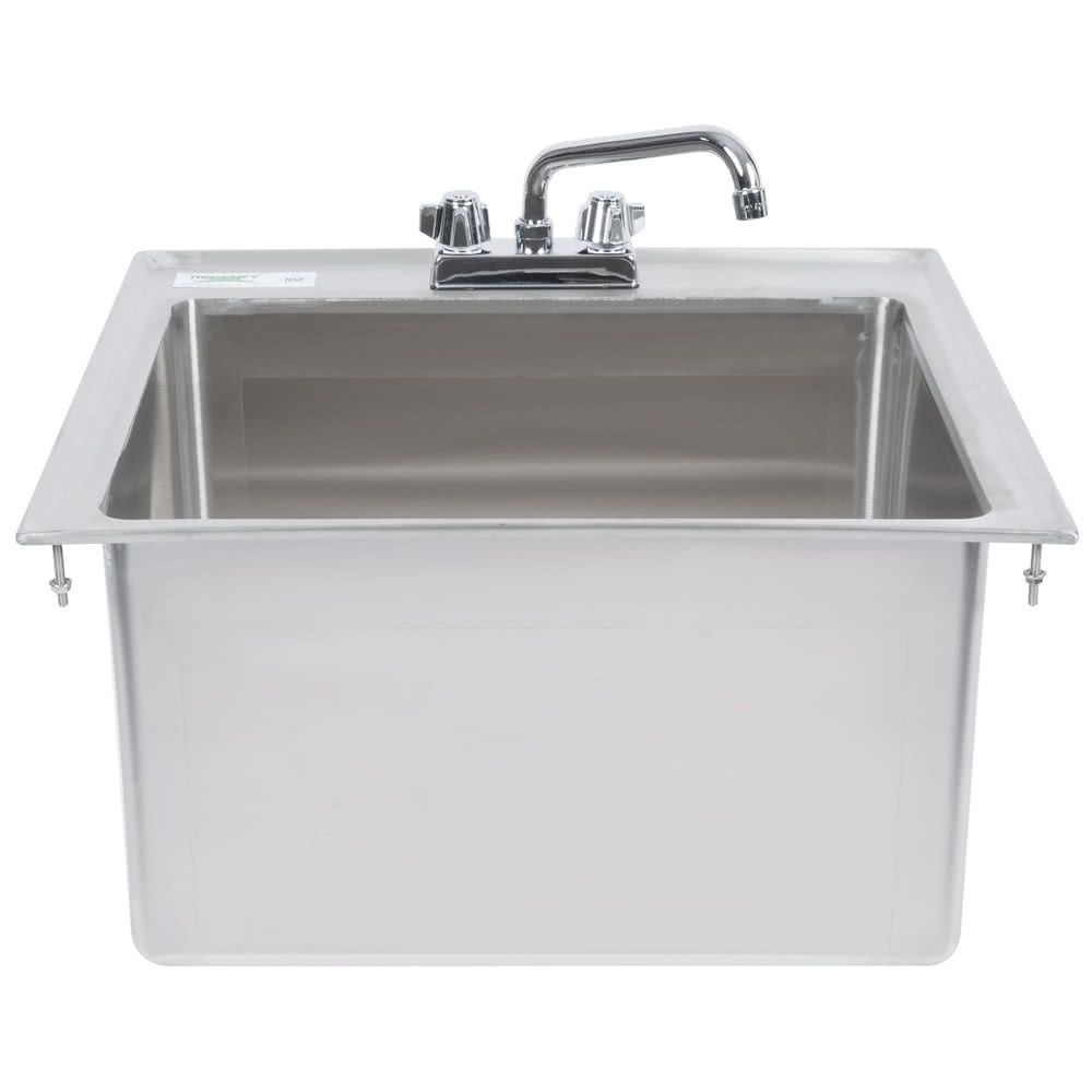 Regency 20 X 16 X 12 16 Gauge Stainless Steel One Compartment Drop In Sink With 8 Faucet Drop In Sink Sink Laundry Room Sink