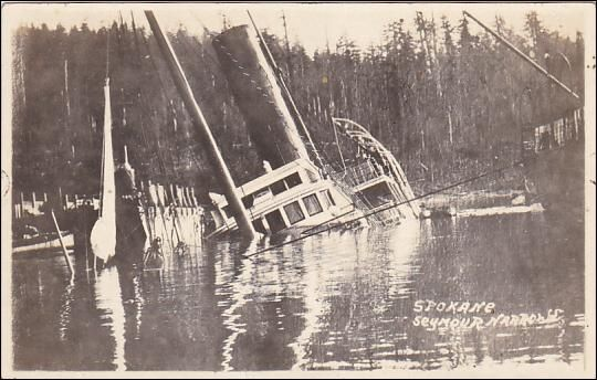 "RP; Shipwreck S.S. ""SPOKANE"" , Seymour Narrows , B.C. , Canada , 00-10s #4;  Winter & Pond Photo postcard"