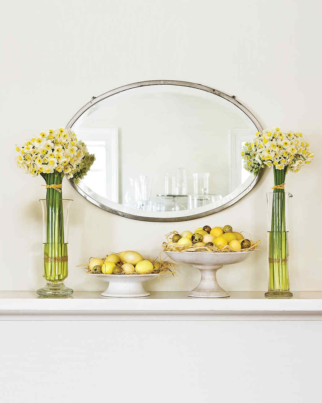 Simple Easter Display | Martha Stewart Living - To create a great Easter display without a great deal of effort, limit your palette to one spring-inspired color, such as yellow.