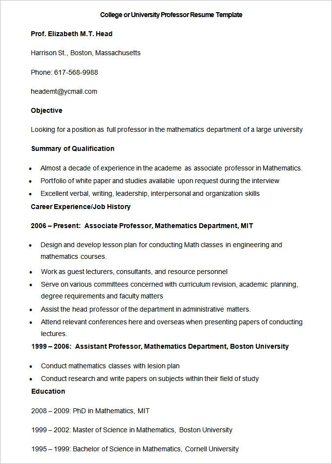 sample college or university professor resume template how to