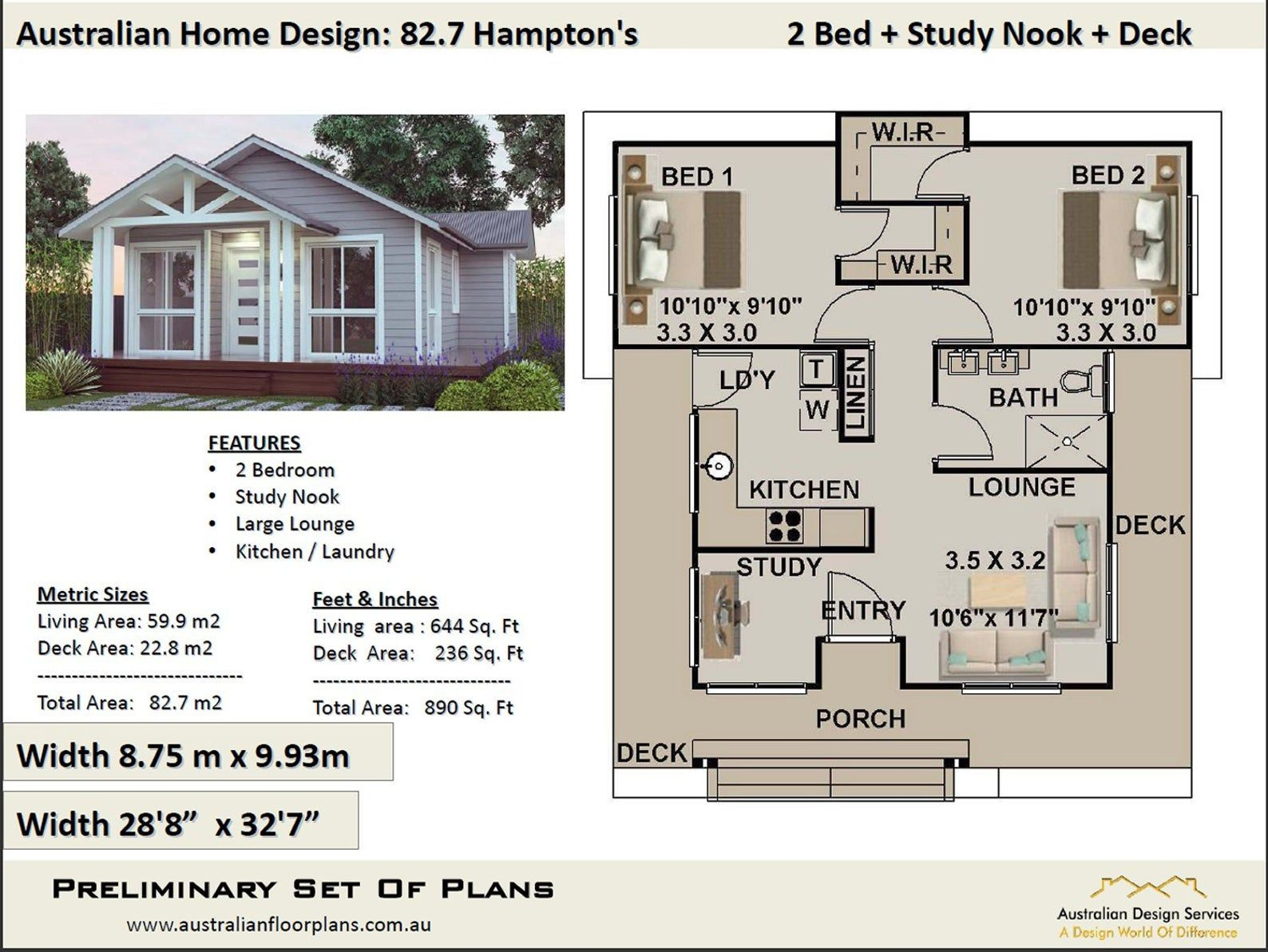 Small House Plan Australia 2 Bedroom Small Home Design Etsy House Plans Australia Small House Design Guest House Plans
