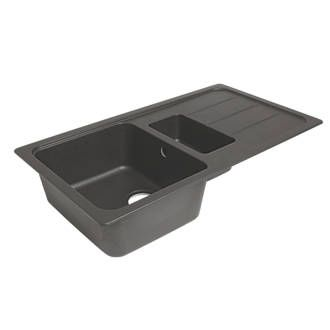 Granite Composite Kitchen Sink Drainer Black 1 5 Bowl