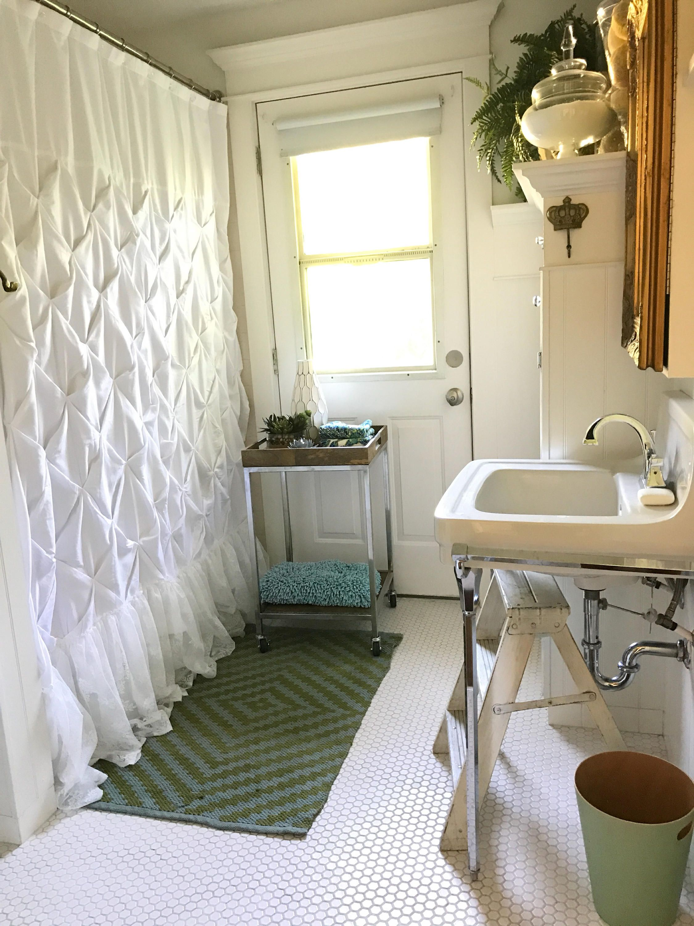 Extra Long Shower Curtain White Pin Tuck With Lace Ruffle