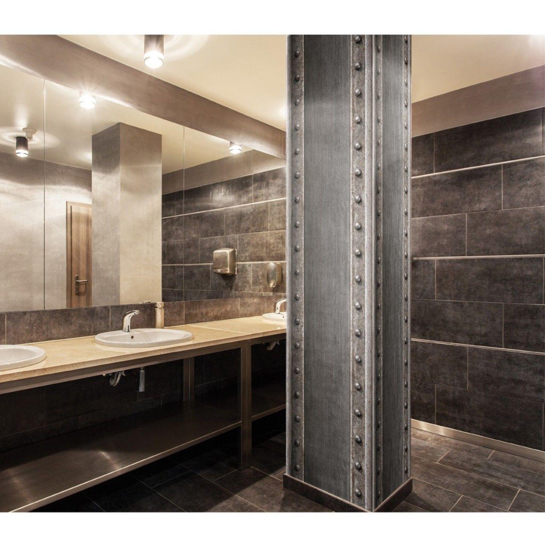 papier peint poutre m tallique pleine acier brosse rouleau 5m papier peint d coration. Black Bedroom Furniture Sets. Home Design Ideas