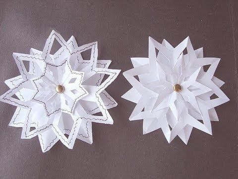 SNOWFLAKE 4 3 Layer Snowflake Paper Folding Christmas Star