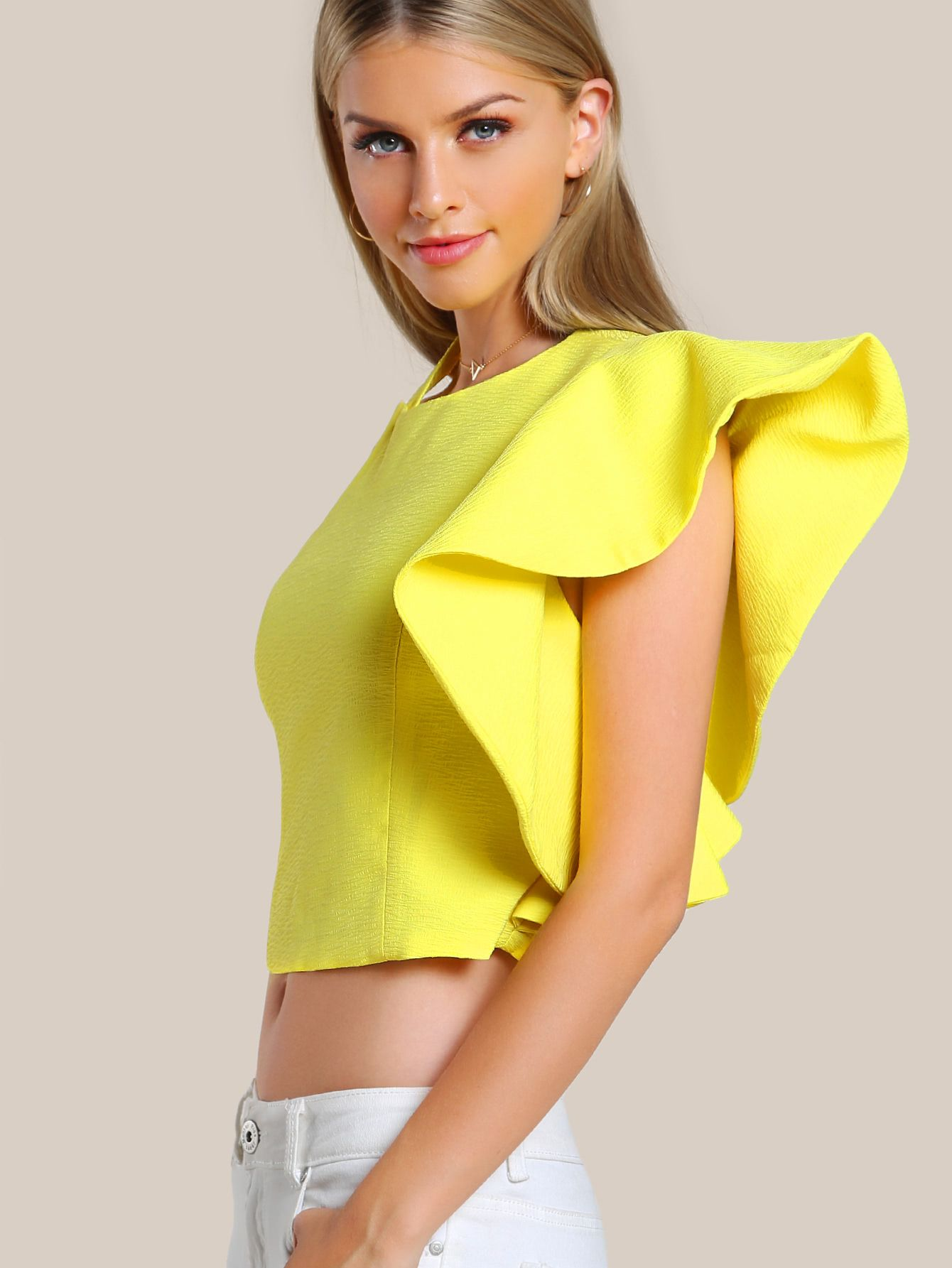 258f6cb96f25bb Flounced One Shoulder Tailored Top -SheIn(Sheinside) | FASHION + ...