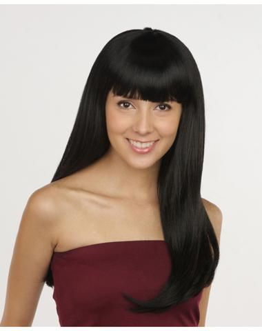 Long Black Adult Wig with Bangs