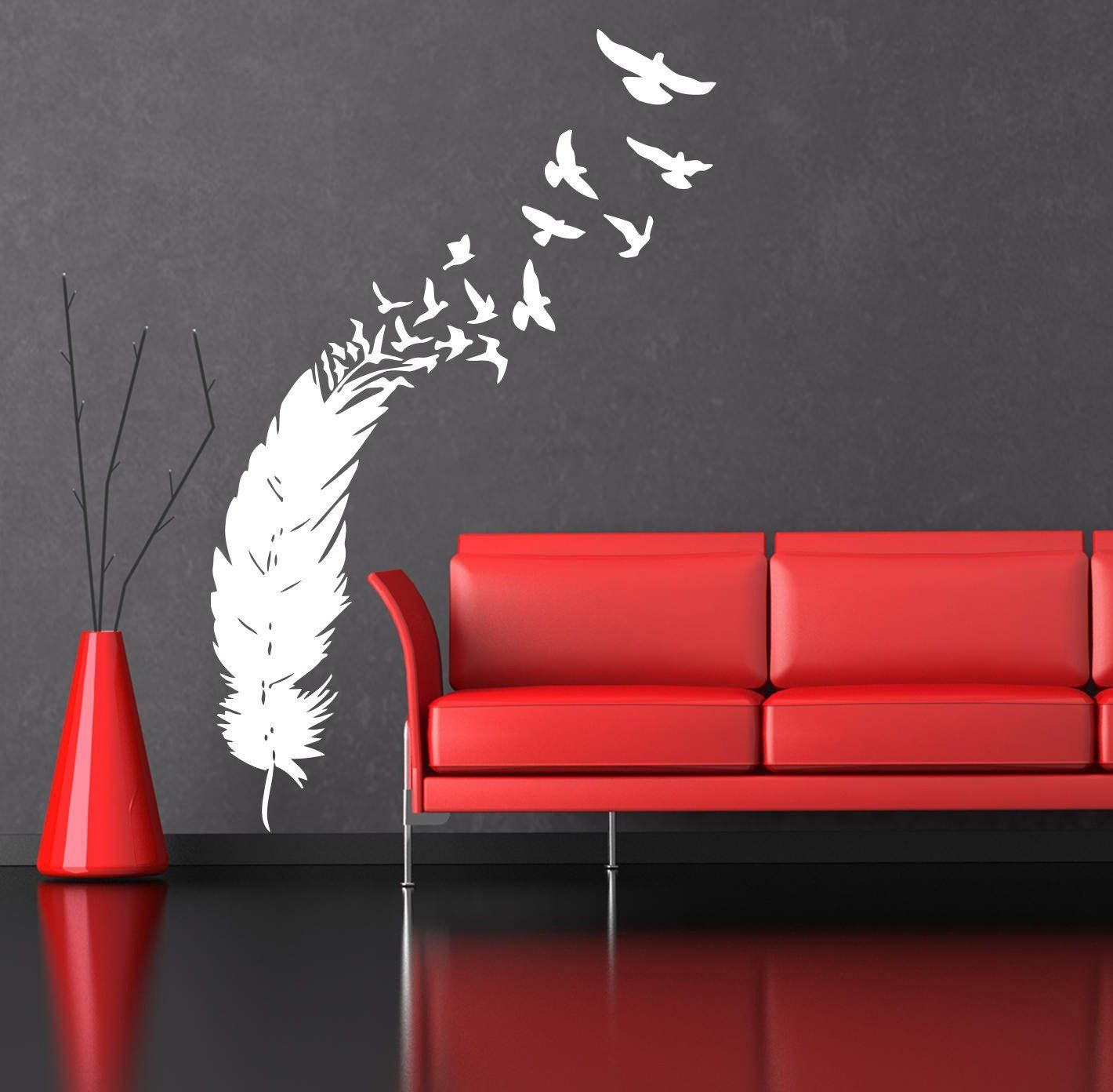 Wandtapetenaufkleber wall decals feather birds nib style feather peacock living room