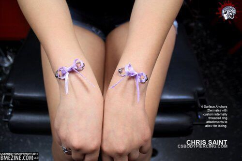 Girl With Purple Ribbon Bows Corset Piercing On Her Wrist Corset
