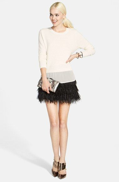 Chelsea28 Cropped Sweater & Sam Edelman Feather Miniskirt  available at #Nordstrom