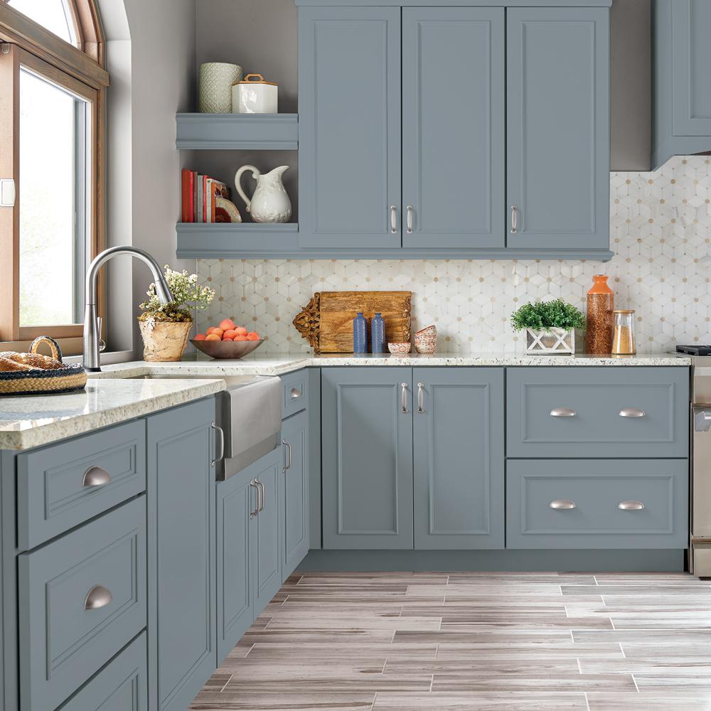 Behr Premium 1 Gal N490 4 Teton Blue Semi Gloss Enamel Interior Cabinet And Trim Paint In 2020 Painted Kitchen Cabinets Colors New Kitchen Cabinets Kitchen Design