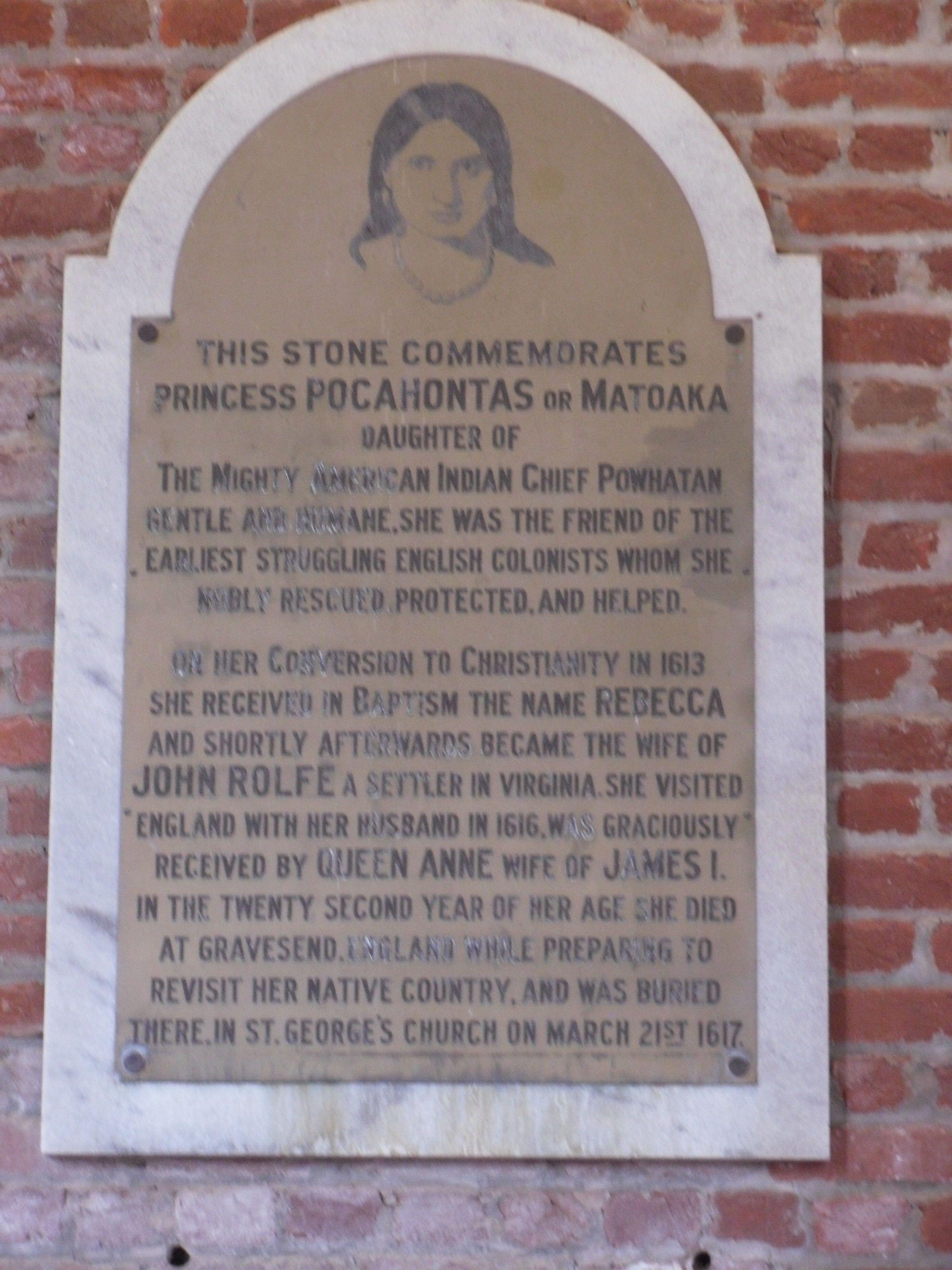 Pocahontas plaque....Bentley family ancestor