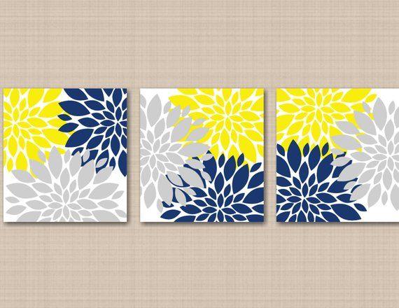 yellow navy blue gray floral wall art gray navy yellow wall decor rh pinterest com