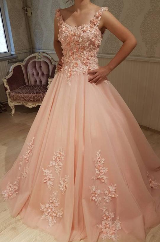 b9fe8e7dd8c Pink Floral Corset Prom Dresses
