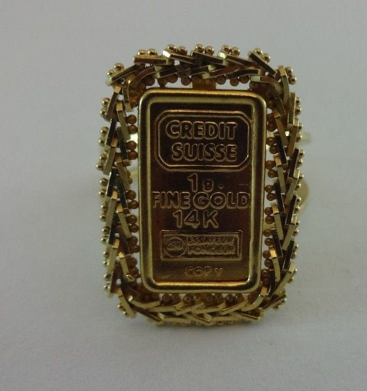 Solid 14k Yellow Gold Credit Suisse 1 Gram Bullion Bar Ingot Ring Or Band Sz 8 Ingot Bullion 14k Yellow Gold