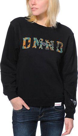 Diamond Supply Co. Girls DMND Camo Black Crew Neck Sweatshirt at Zumiez : PDP