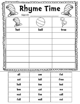 Dr. Seuss Rhyme Time Sort {FREEBIE} | K-1 Teacher Co-Op! | Pinterest ...