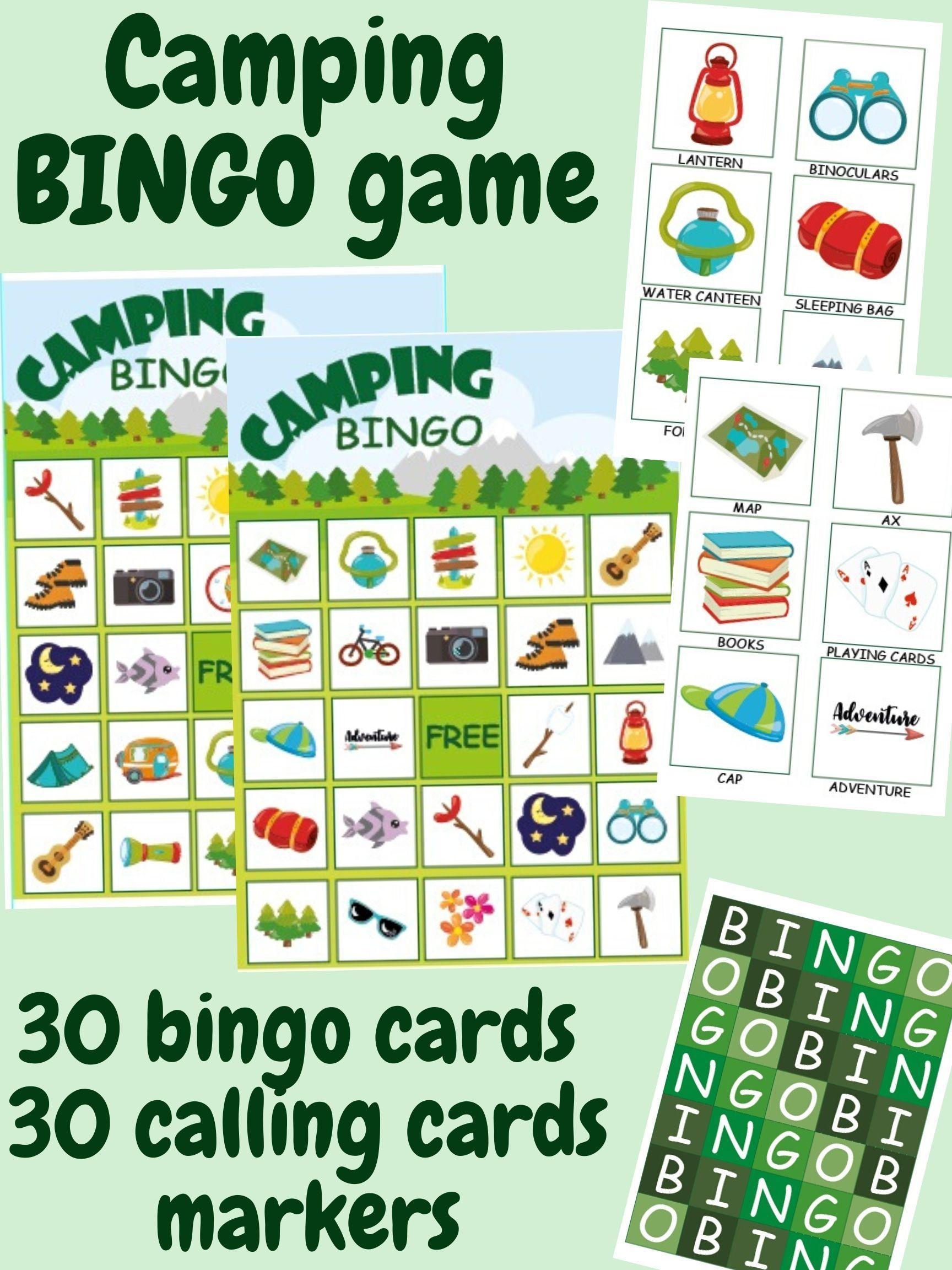 30 Camping Bingo Cards Printable Bingo Game Summer Camp