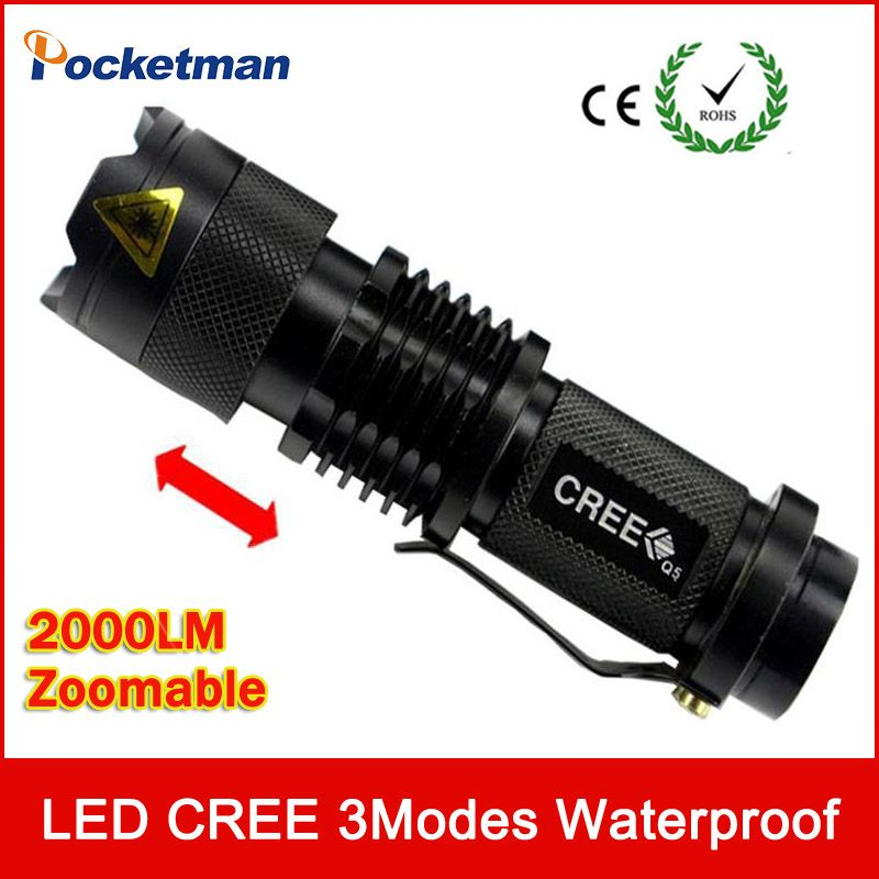 Ultra Bright Top Quality Mini CREE Q5 LED Flashlight 3 Modes 2000 Lumens Zoomable Waterproof Adjustable LED Torch Free Shipping