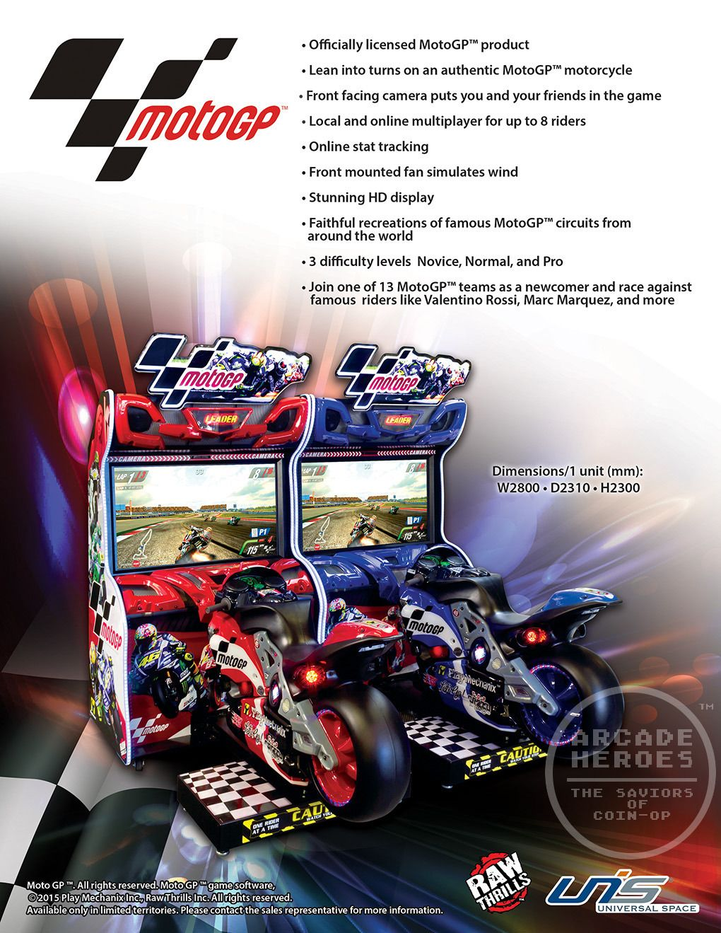 The Next Racing Game From Play Mechanix Raw Thrills Motogp Arcade Heroes Racing Games Motogp Arcade