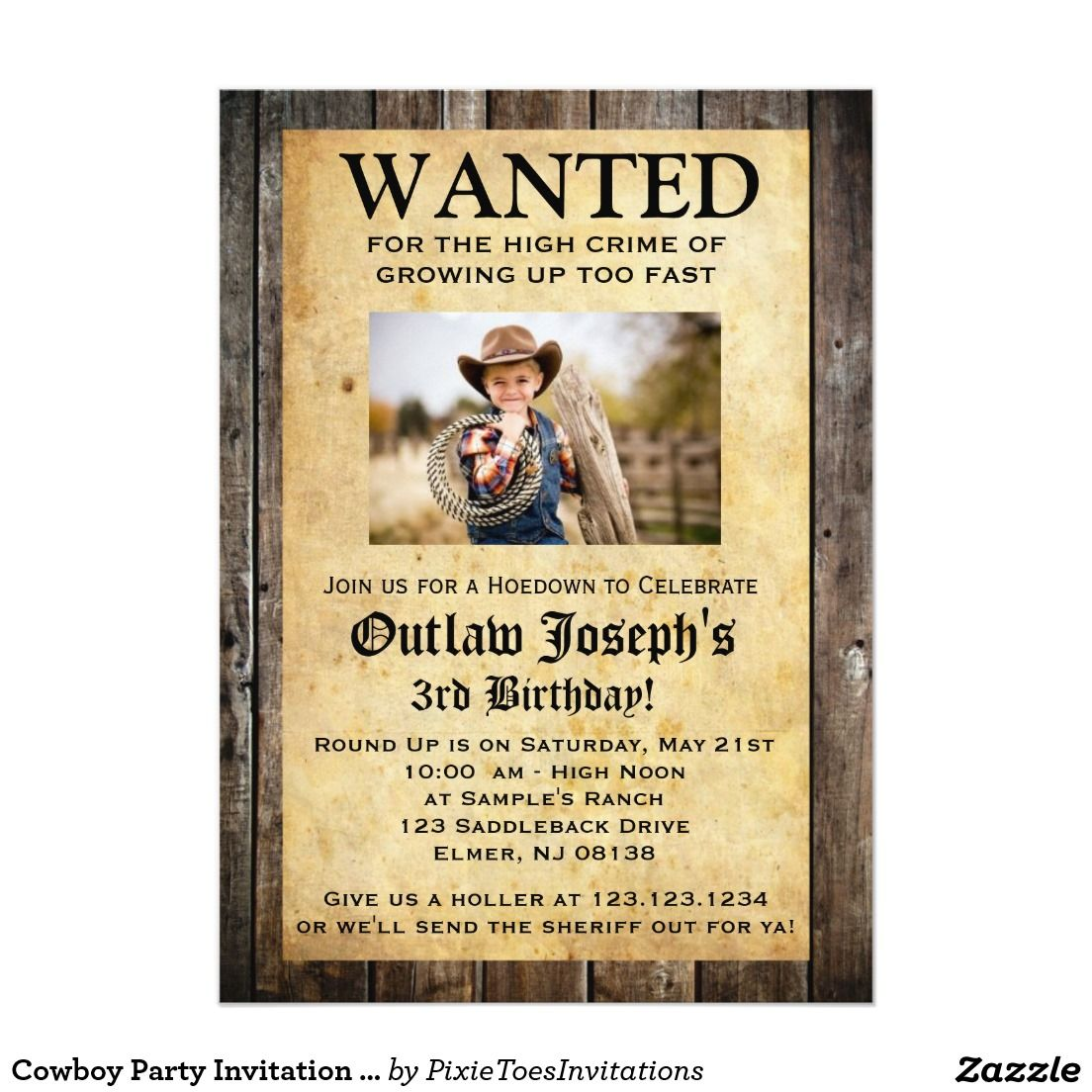 "Cowboy Party Invitation | WANTED INVITATION 5"" X 7"" Birthday Invitation Card"
