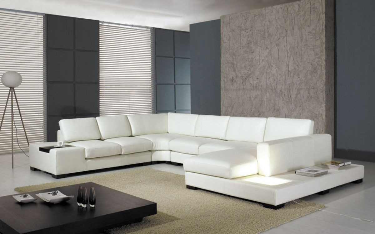 Divani Casa T35 Modern White Eco Leather Sectional Sofa With Light White Leather Sofas Furniture Leather Sectional Sofas