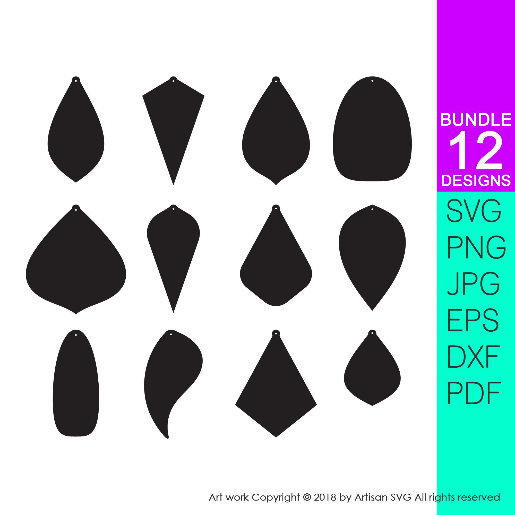 silhouette or diy. Svg cutting templates for faux leather earring three pairs earrings template SVG for cricut
