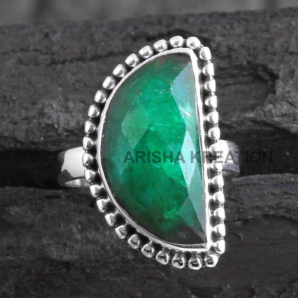 Gift Jewelry Green Dyed Emerald Handmade Jewellry 925 Sterling Silver Plated 7 Grams Ring Size 7.5 US